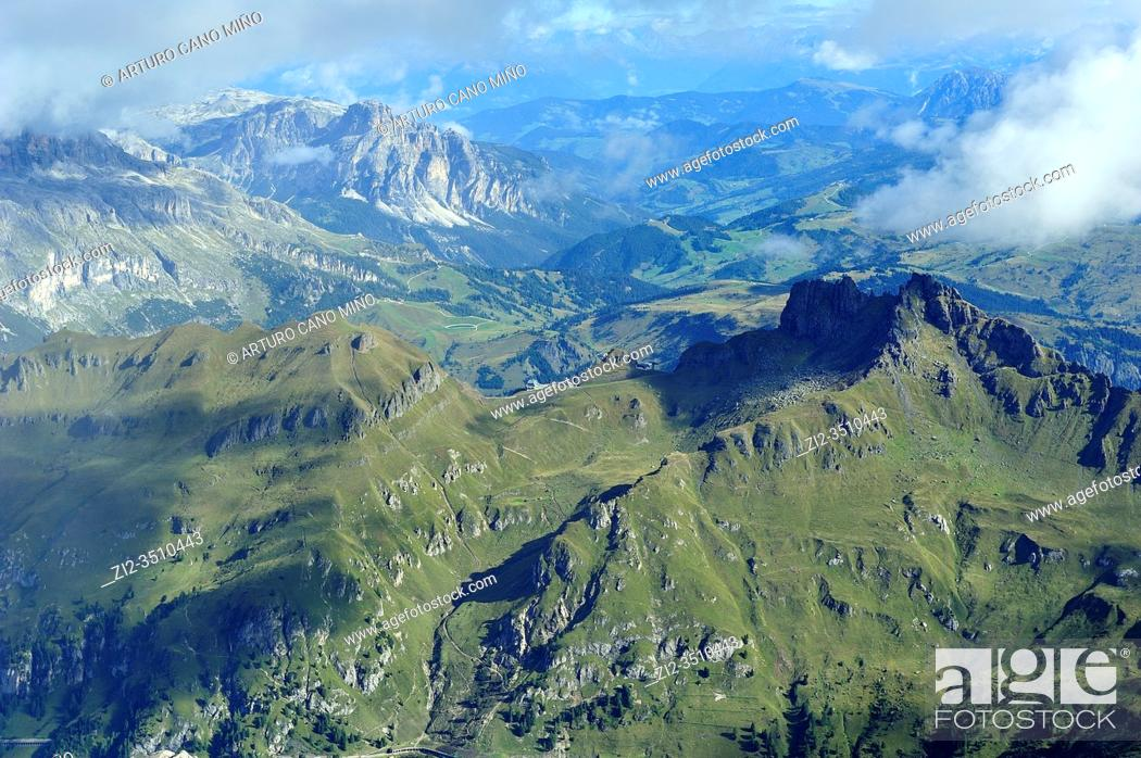 Stock Photo: The view from Punta Rocca (3309 mts.), one of the summits of he Marmolada, the higest mountain of the Dolomites. They are a mountain range declared a UNESCO.