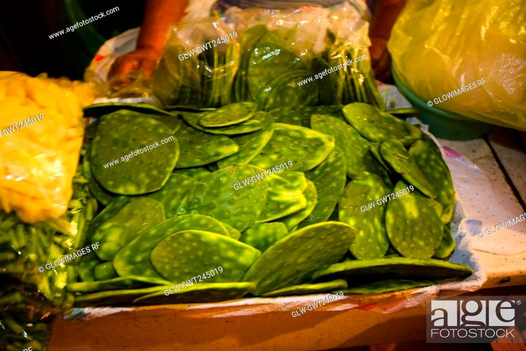 Stock Photo: Close-up of vegetables at a market stall, Xochimilco, Mexico.
