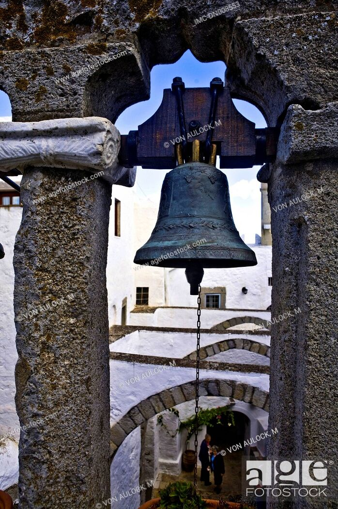 Imagen: Greece, Dodecanese, Patmos, monastery of St John the theologian, bell tower.