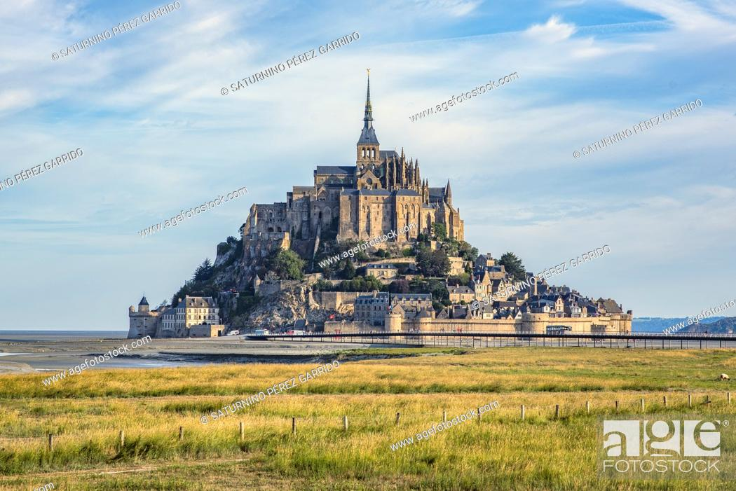 Stock Photo: Mont Saint Michel and the Abbey with the sea at low tide.