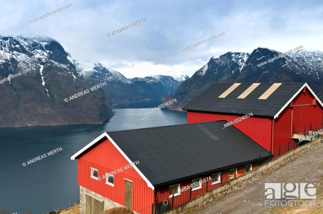 Stock Photo: Farm in the Aurlandsfjord, a branch of the Sognefjords, place Aurland, late winter, Sogn of Fjordane, Norway,.