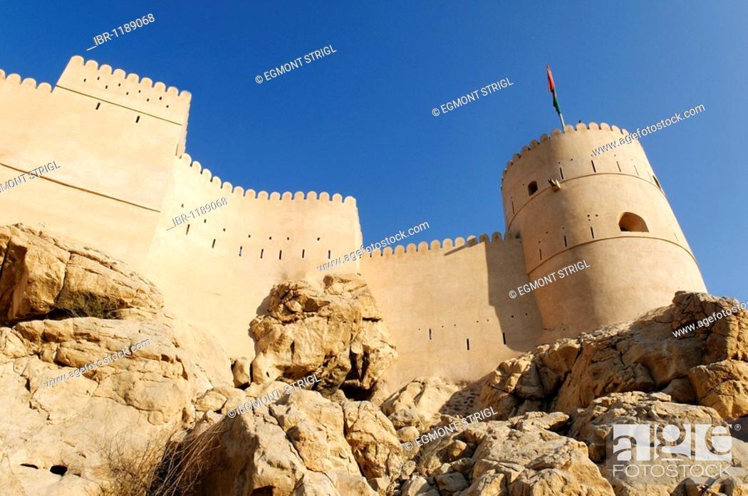 Stock Photo: Historic adobe fortification Nakhal, Nakhl Fort or Castle, Hajar al Gharbi Mountains, Batinah Region, Sultanate of Oman, Arabia, Middle East.