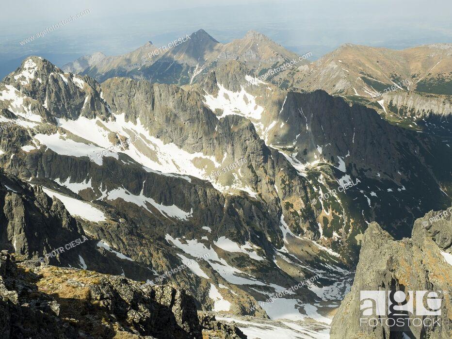 Stock Photo: View from Lomnica Peak (Lomnicky Stit). Tatra mountains. Slovakia.