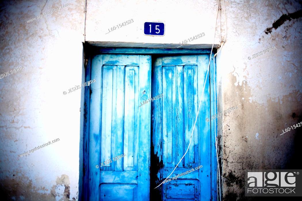 Stock Photo: Blue door, Sabinosa, El Hierro, Canary Islands, Spain.