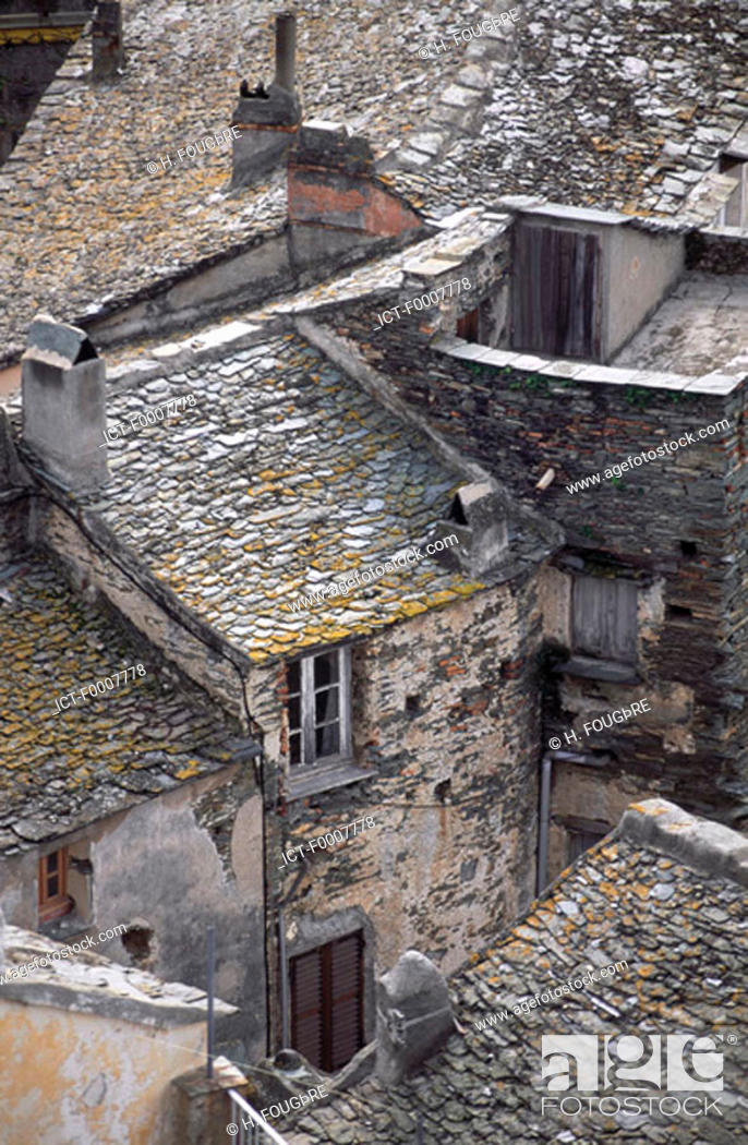 Stock Photo: France, Corsica, Nonza, detail of traditional homes.