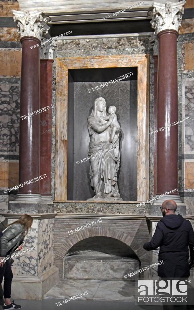 Stock Photo: Rebuilding of the Raphal tomb in the Pantheon in Rome at Scuderie del Quirinale in Rome, ITALY-04-03-2020.