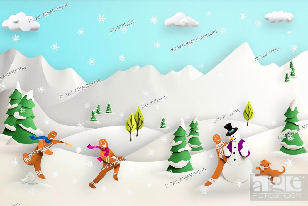 Imagen: Paper sculpture of cute gingerbread men playing in snowy landscape.