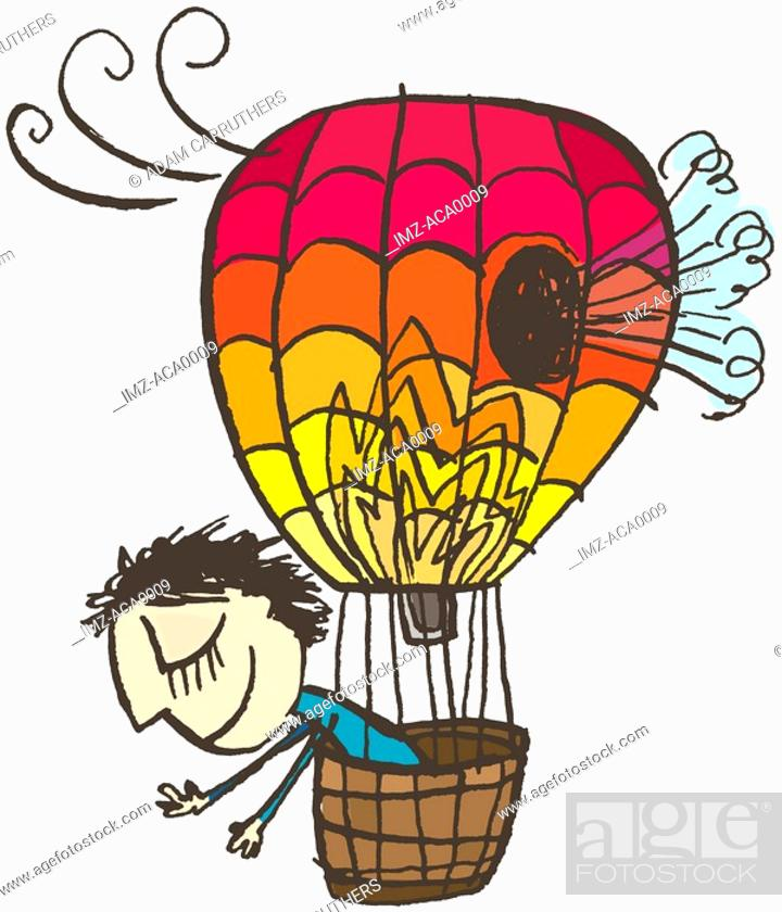 Stock Photo: A happy man oblivious to a giant hole in his hot air balloon.
