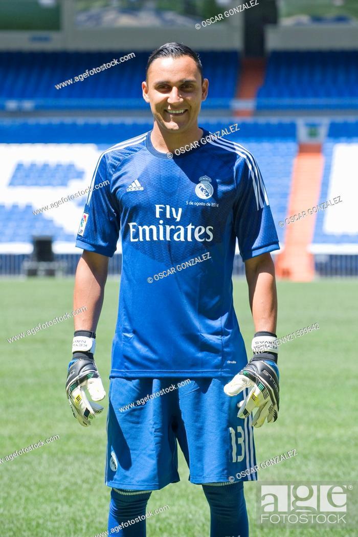 Stock Photo - Keylor Navas at his unveiling as a new Real Madrid player at  the Santaigo Bernabeu Stadium in Madrid 9cc46ef20