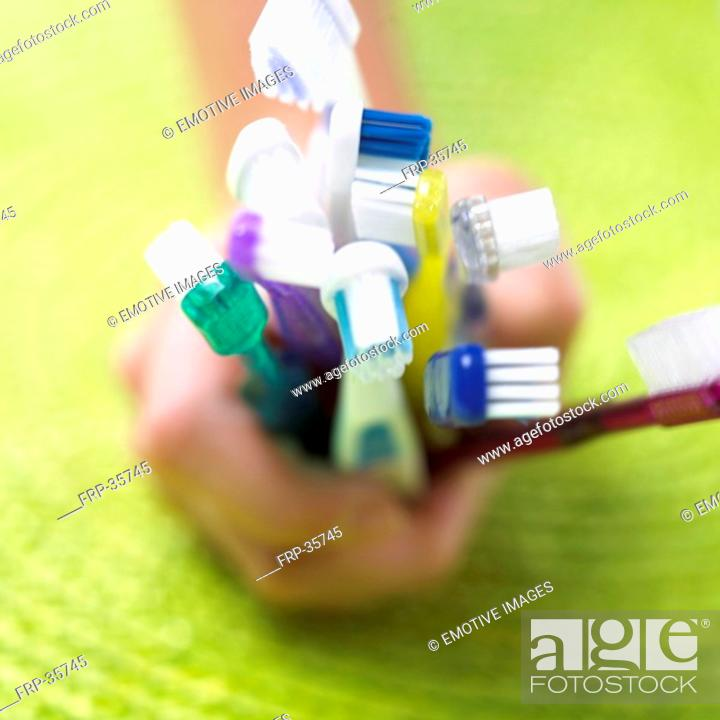 Stock Photo: a handful toothbrushes.