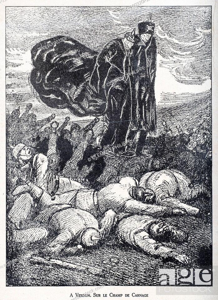 Stock Photo: Sur le Champ de Carnage, WW1 caricature by illustrator Rata Langa showing German Prussian Crown Prince / Kronprinz Wilhelm von Preußen and Kaiser Wilhelm II.