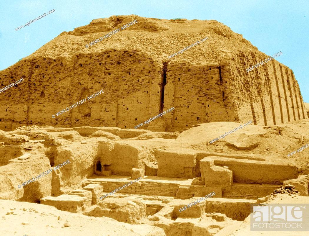 The reconstructed facade of the Neo-Sumerian Great Ziggurat