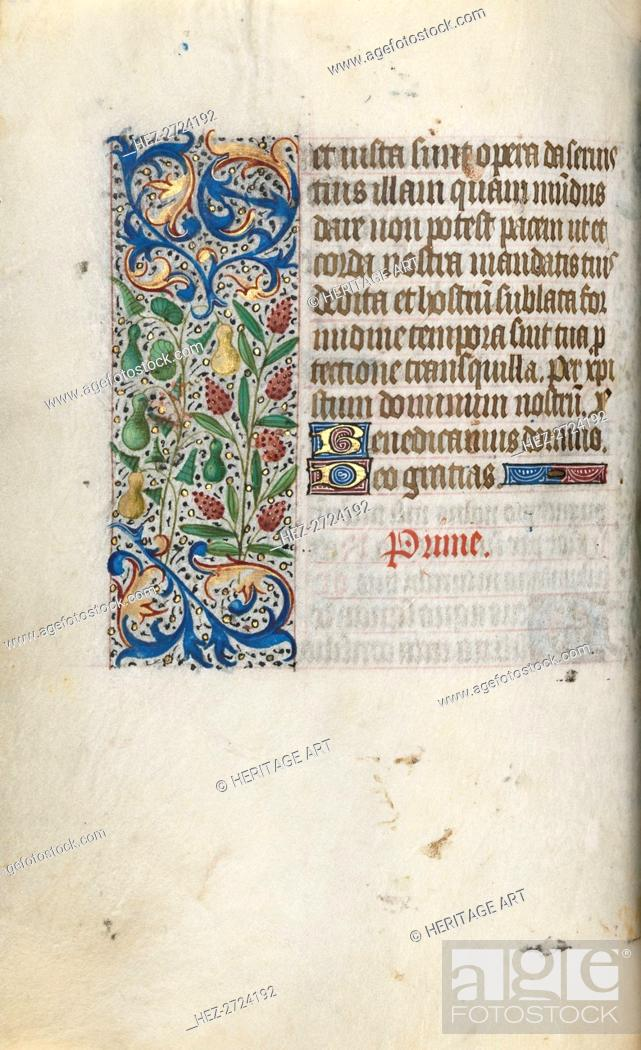 Stock Photo: Book of Hours (Use of Rouen): fol. 55v, c. 1470. Creator: Master of the Geneva Latini (French, active Rouen, 1460-80).