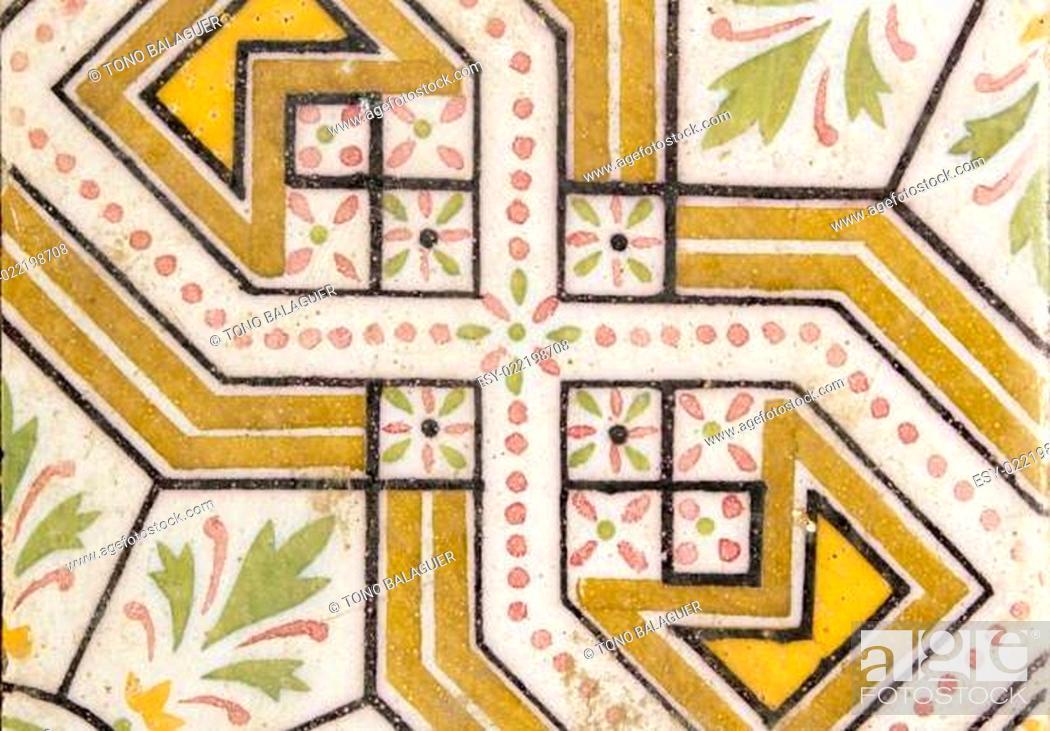 Stock Photo: arab traditional creamic floor tile flower design.