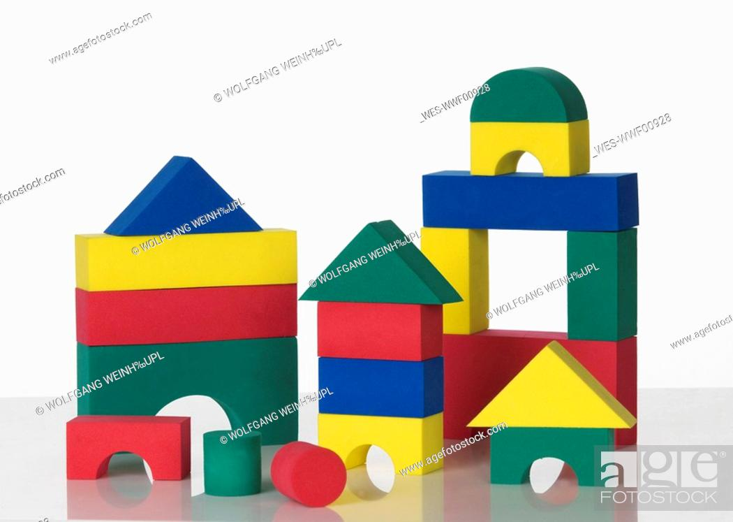 Stock Photo: Colourful building bricks.