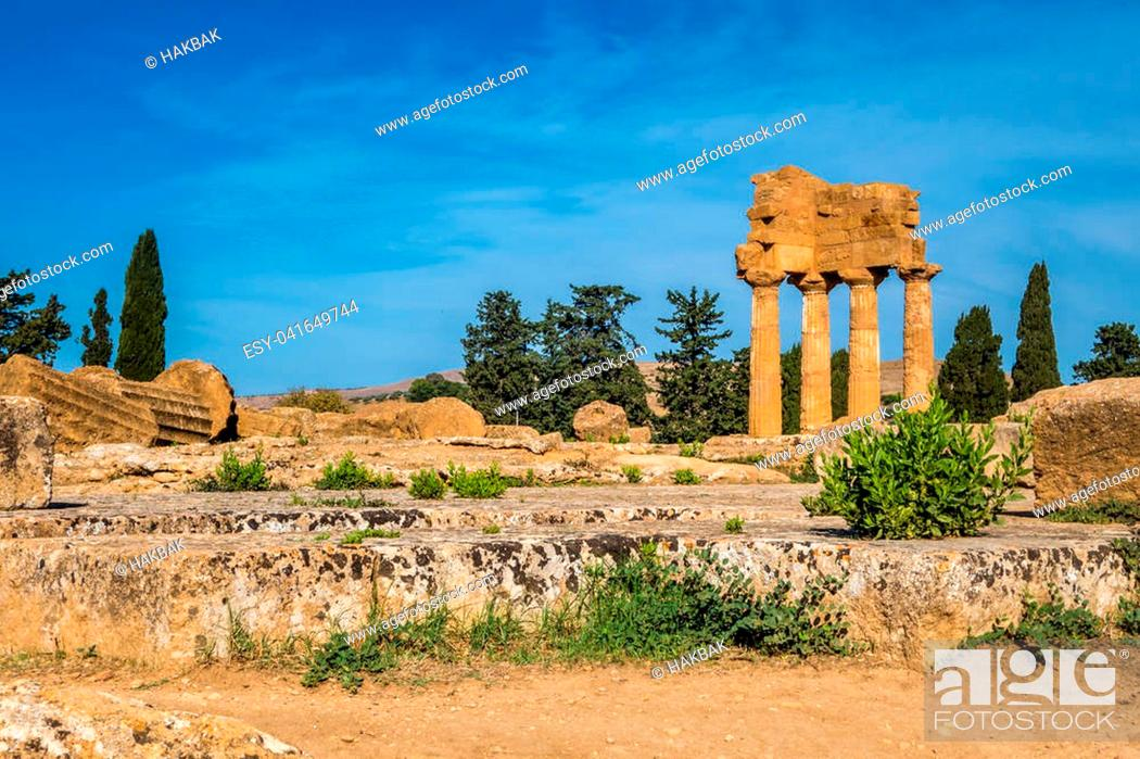 Stock Photo: Valle dei Templi in Agrigento in Sicily Italy.