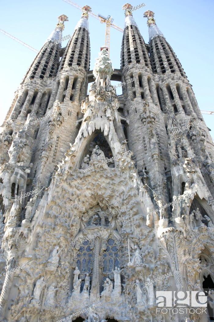 Stock Photo: Nativity gate, Sagrada Familia, UNESCO World Heritage Site, Barcelona, Catalonia, Spain, Europe.