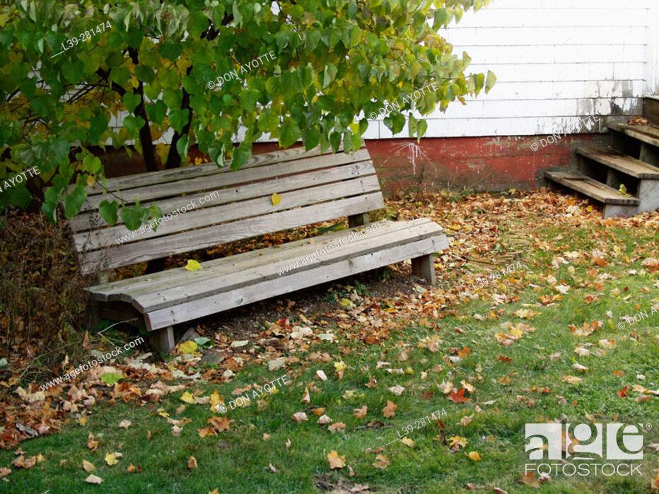 Stock Photo: Park bench at Putney school. Putney, Vermont. USA.