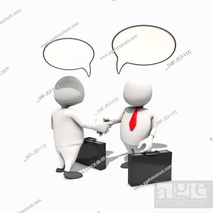 Stock Photo: Two anthropomorphic businessmen shaking hands with speech bubbles above them, CGI.