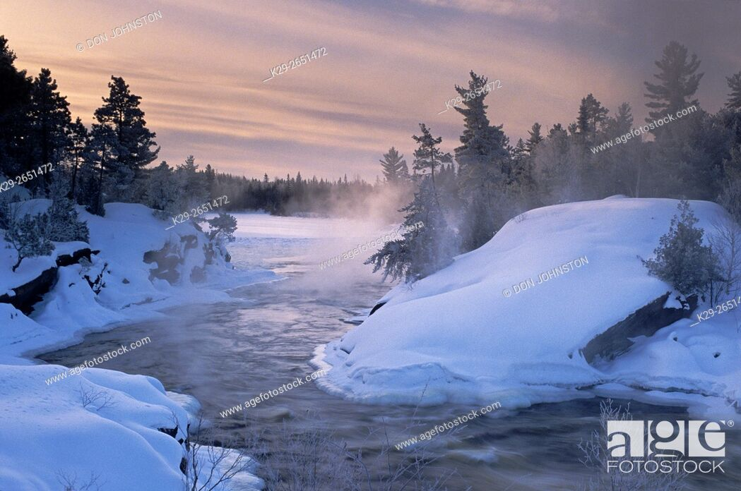 Stock Photo: Wanapitei River Rapids in winter, Wanup, Ontario, Canada.