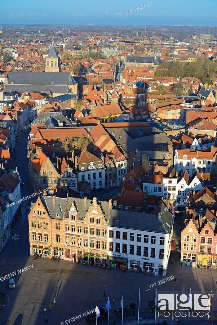 Stock Photo: Brugge Panorama From Belfort Tower, Belgium.