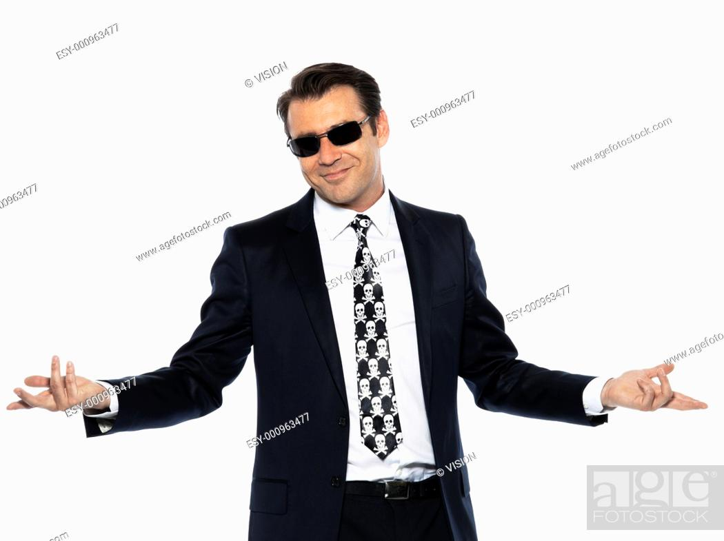 Stock Photo: man criminal expressive pirate caucasian in studio isolated on white background.