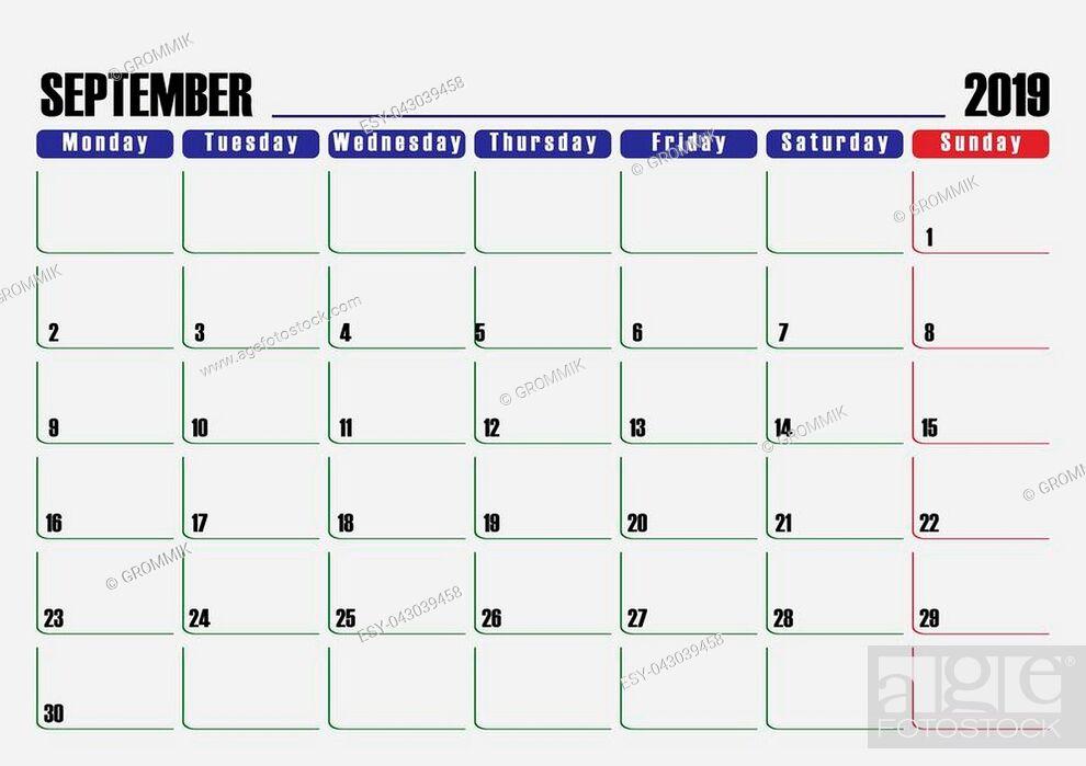 Stock Vector: Calendar scheduler. Leaf for September 2019, one day off.