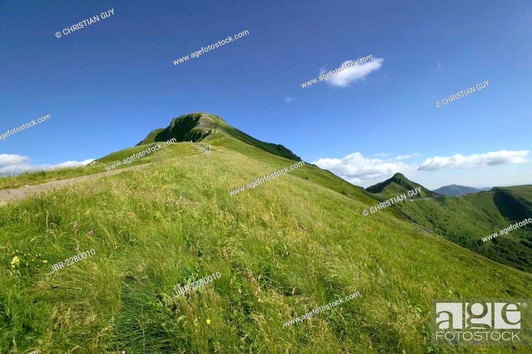 Stock Photo: Hikers, Puy Mary mountain, Parc Naturel Regional des Volcans d'Auvergne, Auvergne Volcanoes Regional Nature Park, Cantal, France, Europe.
