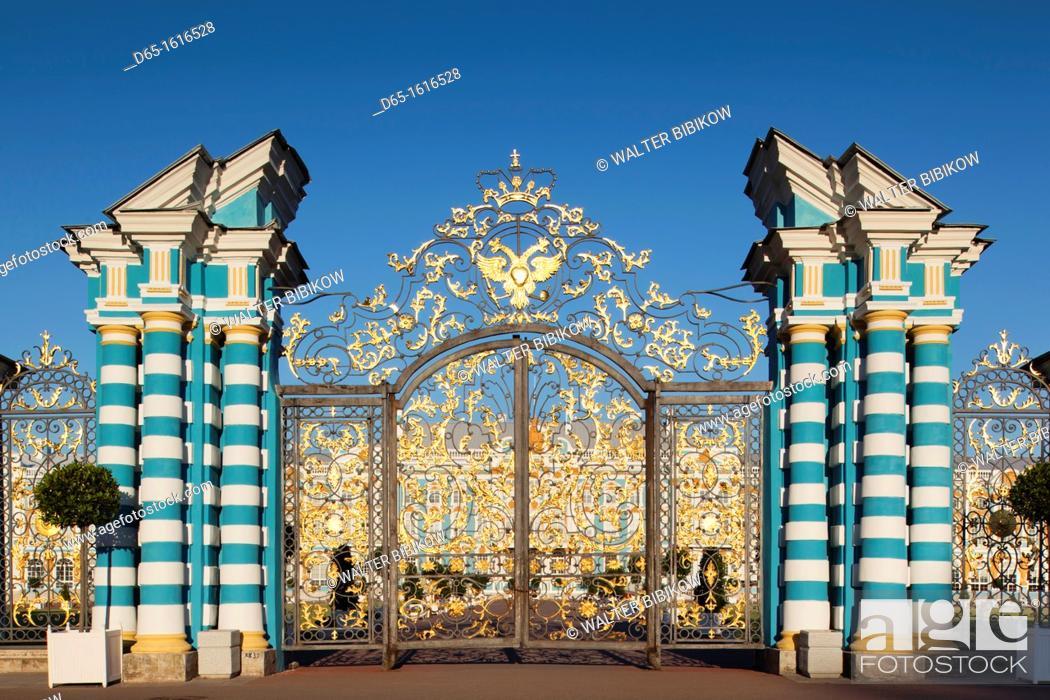 Stock Photo: Russia, Saint Petersburg, Pushkin-Tsarskoye Selo, Catherine Palace, palace gate.
