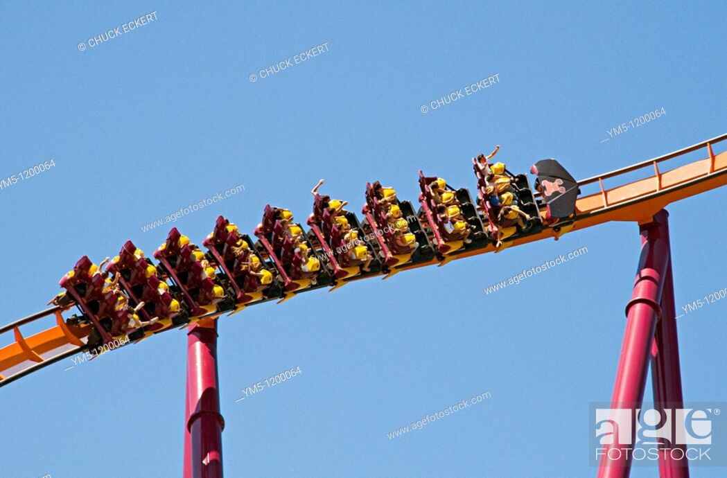 Stock Photo: Raging Bull roller coaster at Six Glags Great America in Gurnee, Illinois, USA.