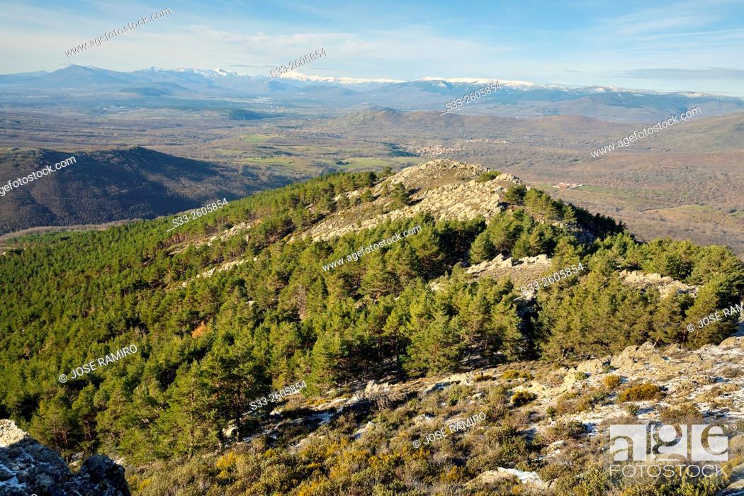 Stock Photo: Sierra de Guadarrama from The Bañaderos peak in the Sierra Norte. Montejo de la Sierra. Madrid. Spain. Europe.