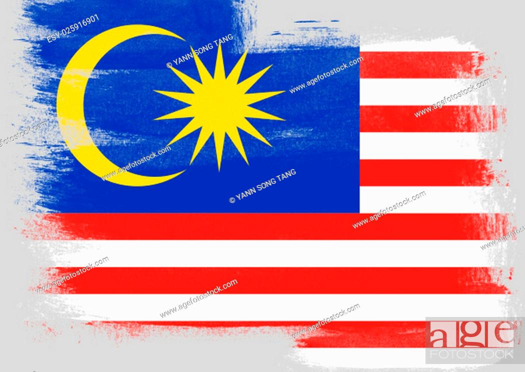 Stock Photo: Flag of Malaysia painted with brush on solid background,.