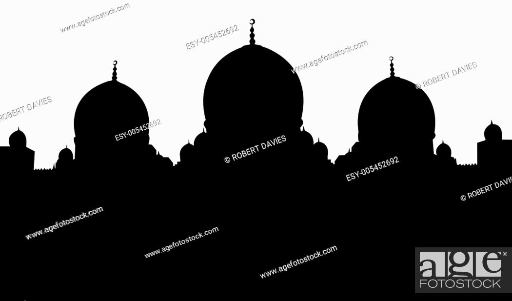 Stock Photo: Islamic Mosque Silhouette Illustration.