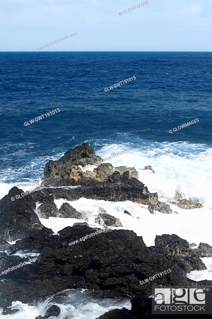 Stock Photo: Waves breaking on the beach, Kehena Beach, Big Island, Hawaii Islands, USA.