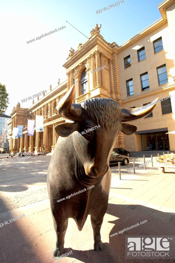 Stock Exchange Symbol Frankfurt Bull Sculpture Stock Photo Picture