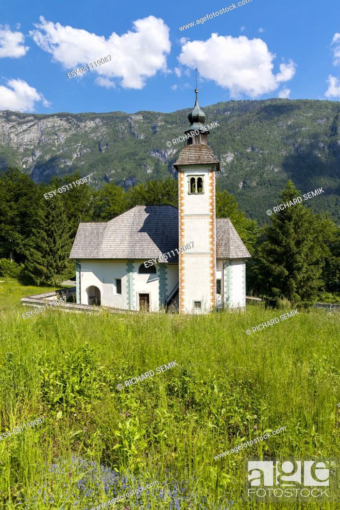Stock Photo: church Sveti Duh near Bohinj lake in Slovenia.