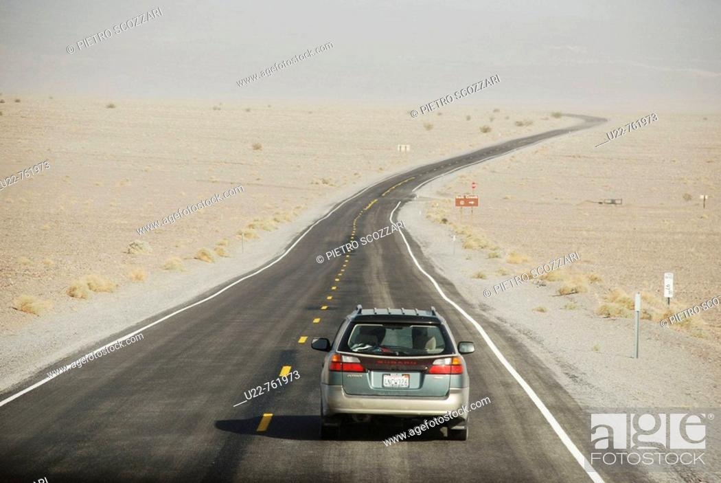 Stock Photo: Death Valley California, the main road through the valley.
