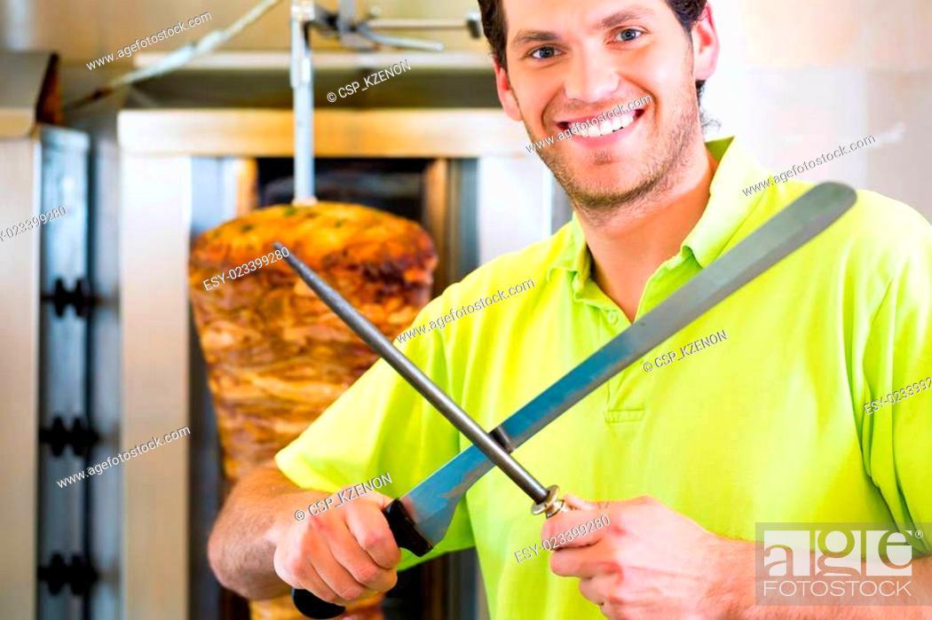 Stock Photo: Kebab - hot Doner with fresh ingredients.