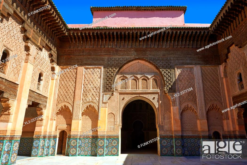 Stock Photo: Berber arabesque Morcabe plasterwork of the 14th century Ben Youssef Madersa (Islamic college) re-constructed by the Saadian Sultan Abdallah al-Ghalib in 1564.