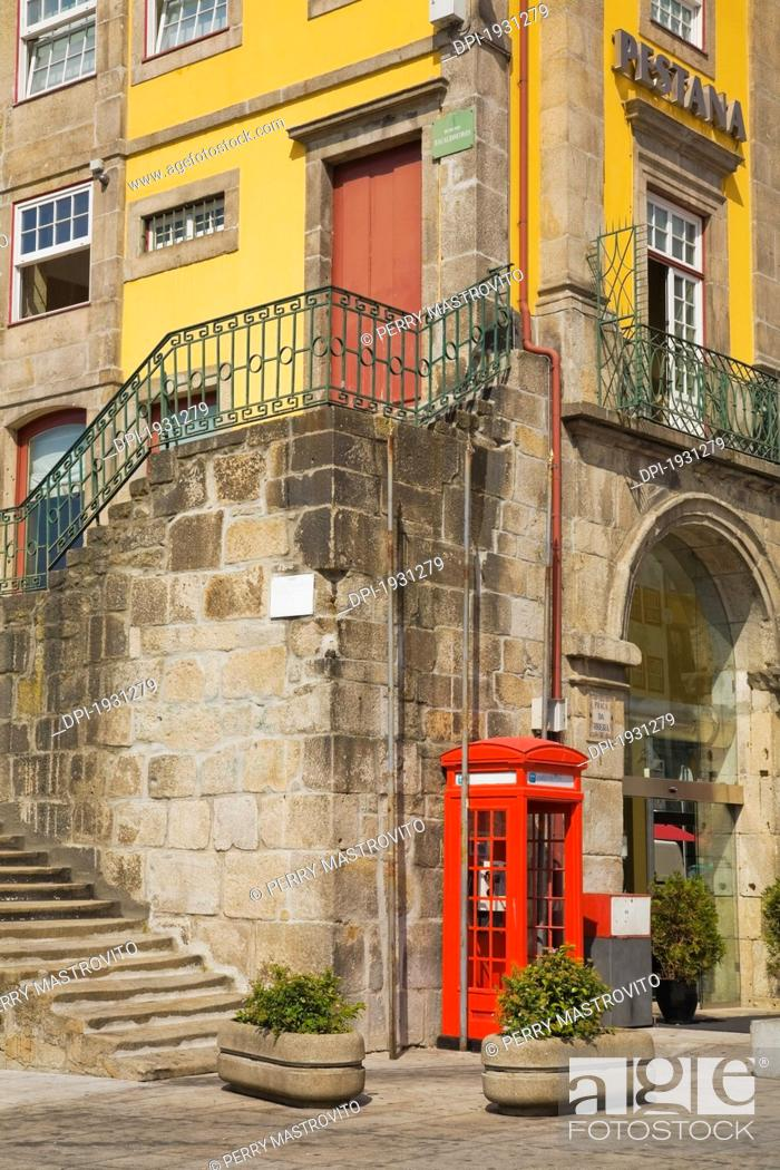 Stock Photo: architecture in old section of city, porto, portugal.
