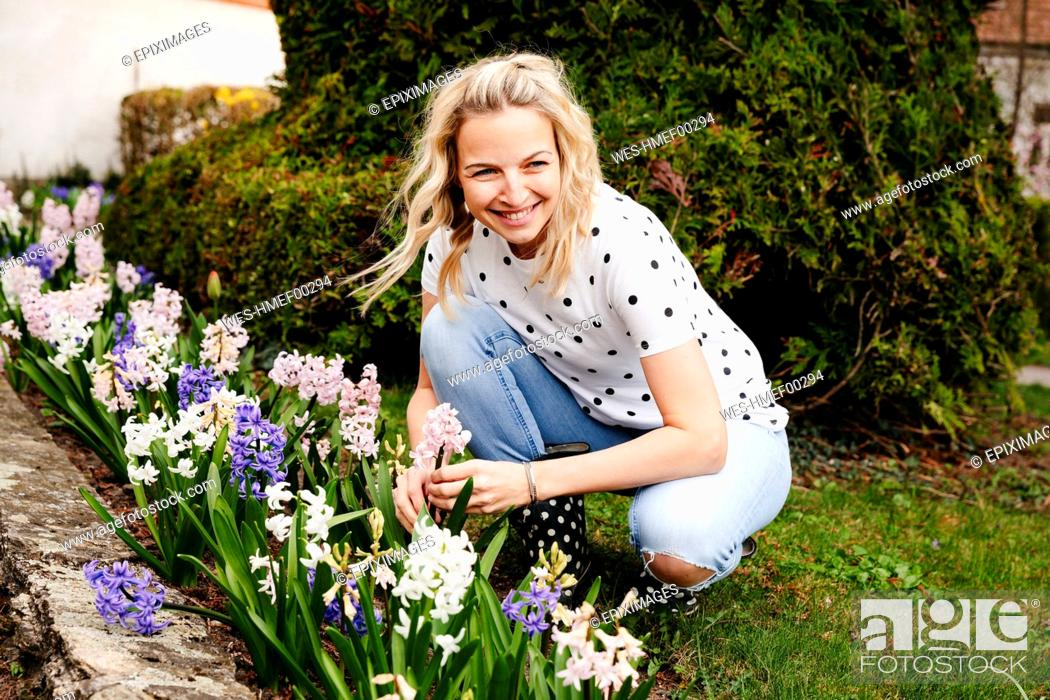Stock Photo: Young blonde woman controls hyacinths in her garden.