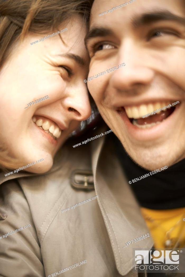 Stock Photo: couple laughing about joke.