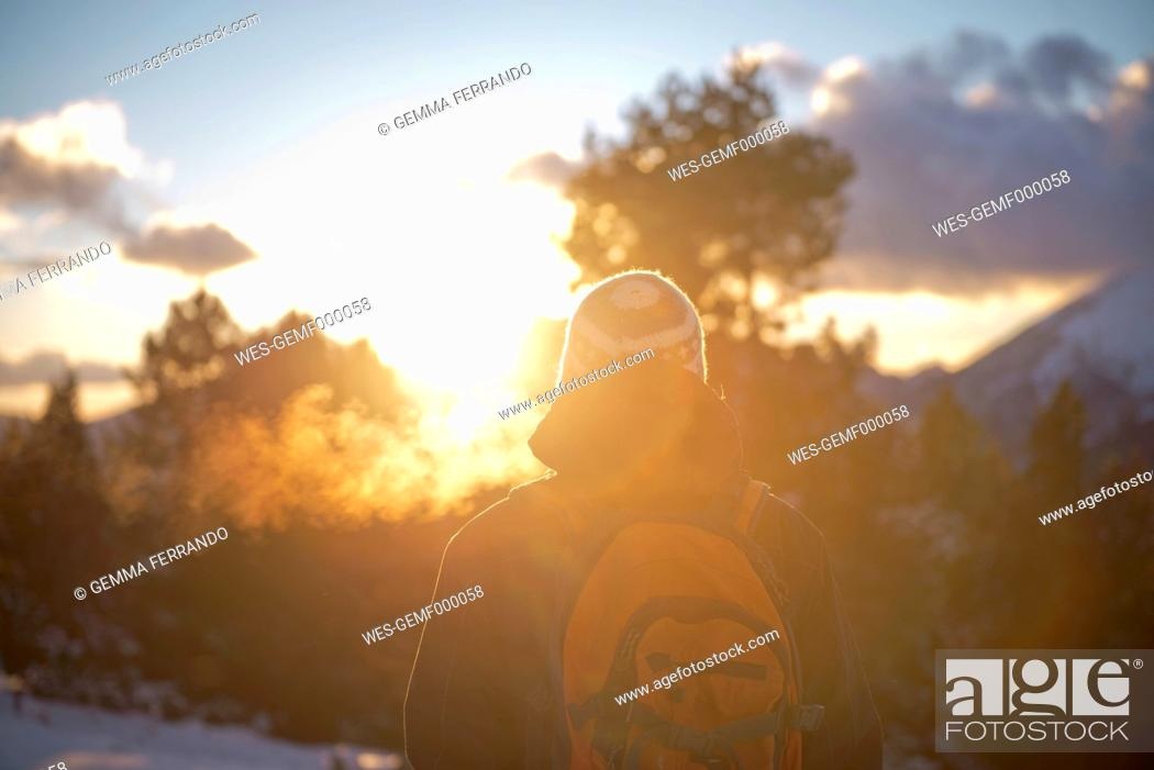 Stock Photo: Spain, Cadi-Moixero Natural Park, man in the mountains at sunset.
