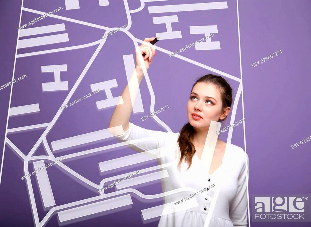 Stock Photo: Future technology, navigation, location concept. Woman showing transparent screen with gps navigator map. Violet background.