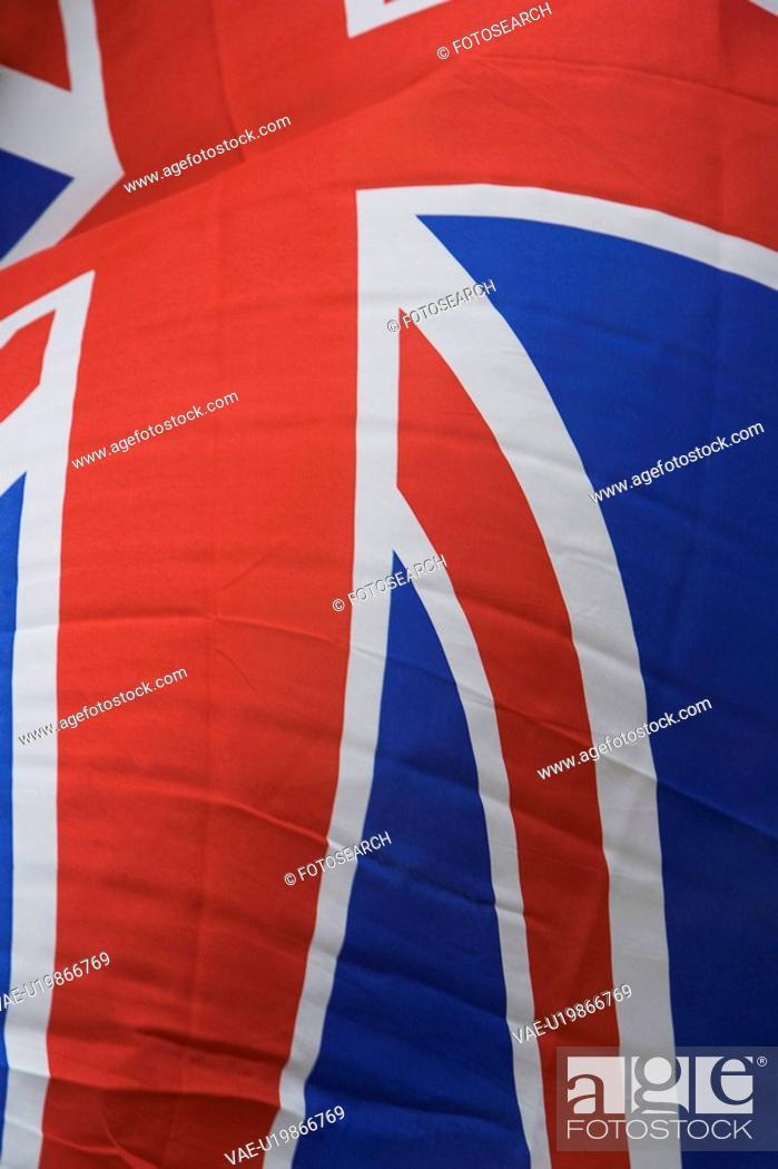 Stock Photo: Blue, British Flag, Full Frame, Outdoors.