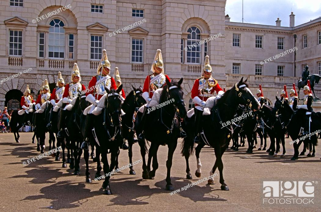 Whitehall, horse guards on horses, changing of the guard