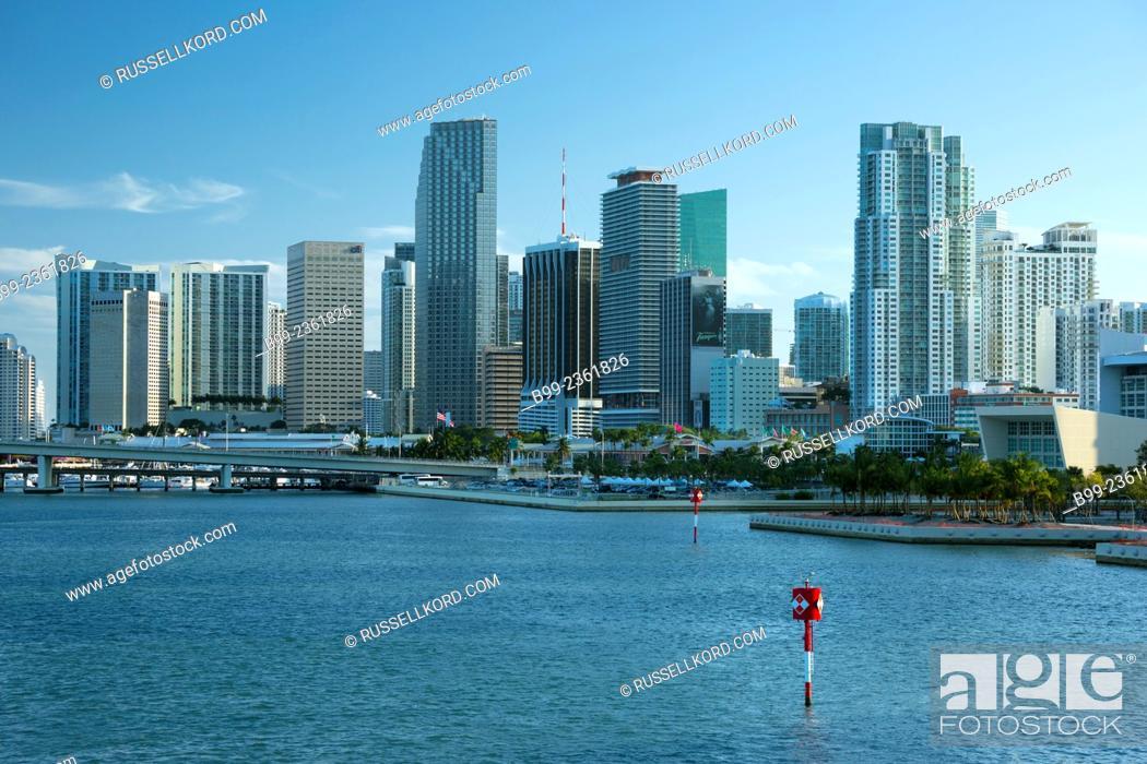 Stock Photo: Downtown Skyline Biscayne Bay Miami Florida Usa.