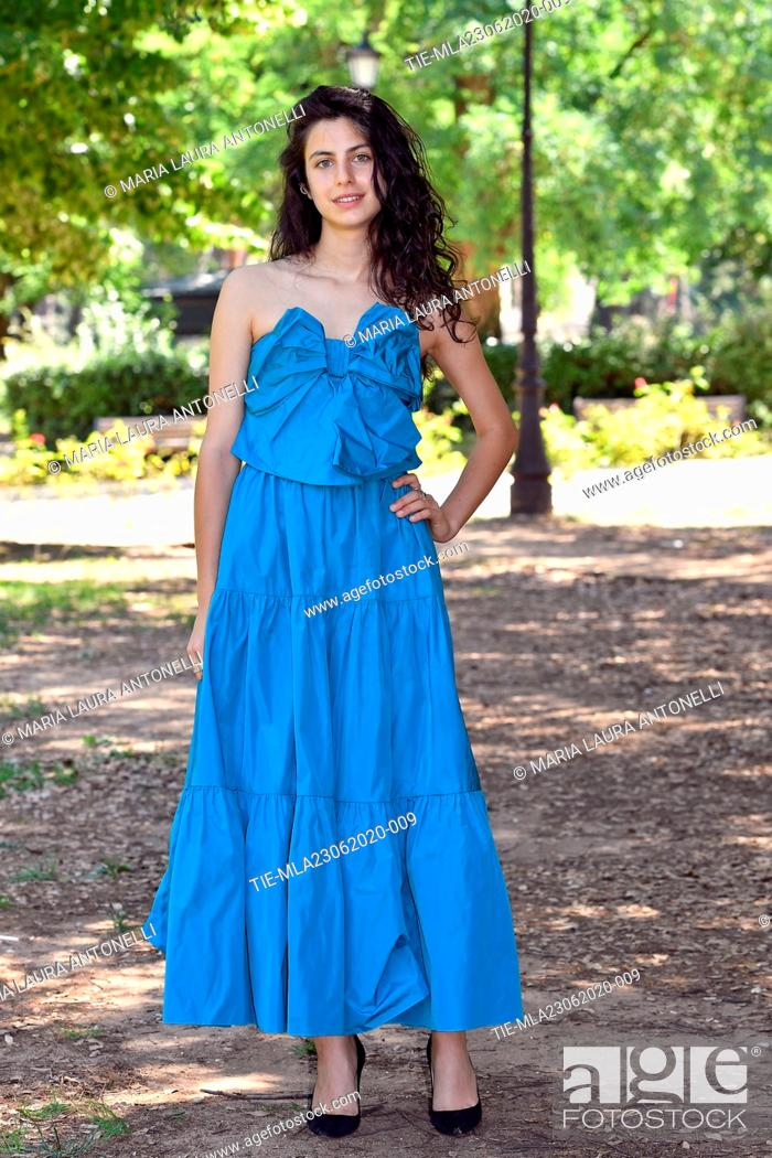 Stock Photo: Actress Fotini' Peluso during the photocall of film ' Il Regno' (The Kingdom) , Rome, ITALY-23-06-2020.