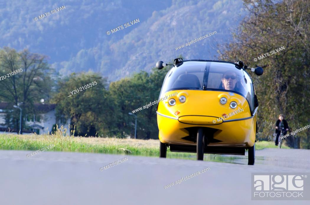 Stock Photo: Electric car in Switzerland.