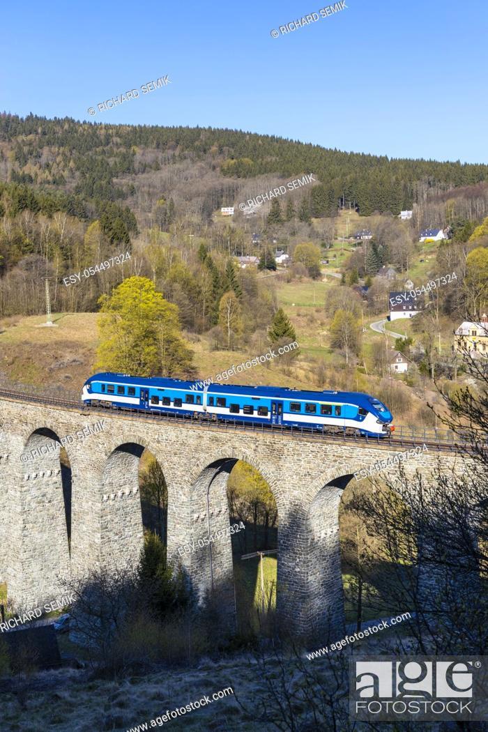 Stock Photo: Railway viaduct Novina in Krystofovo udoli, Northern Bohemia, Czech Republic.